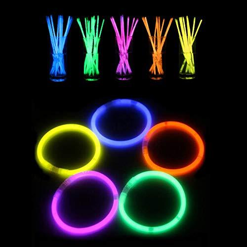zhu Claryshop - Pulseras luminosas fluorescentes, 30 unidades, Starlight pulseras fluorescentes para fiestas de disco, color verde, azul, naranja, amarillo y rojo