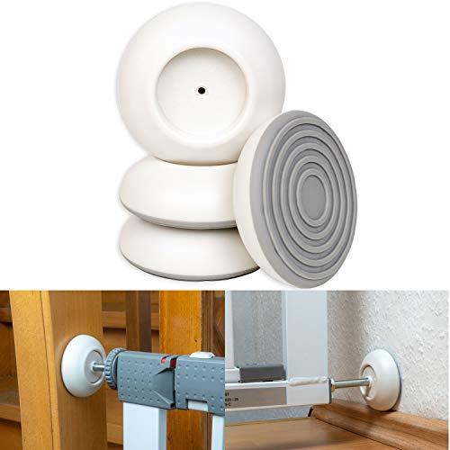 Türgitter Wandschutz Pads, für max. Ø 4.1 cm Druckschraubenköpfe, 4 Pack für Türschutzgitter, verbesserte Pad Haftung, Treppengitter Schutz vor Beschädigungen an Wänden, färben nicht ab, rund, weiss