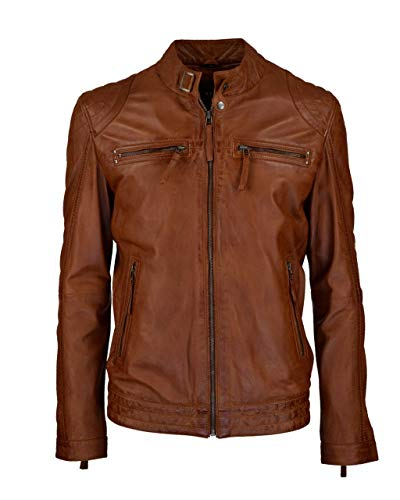COCO BLACK LABEL since1986 Herren Lederjacke Toni im Biker-Look mit Stehkragen, Farbe:Cognac Braun, Größe:58
