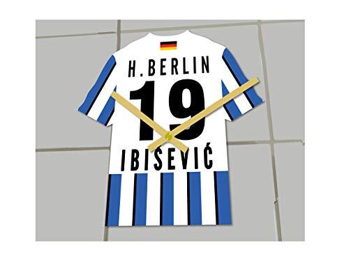 Fußball-Uhr, Bundesliga-Trikot-Uhr– personalisierbar, Hertha BSC Bundesliga Football shirt clock