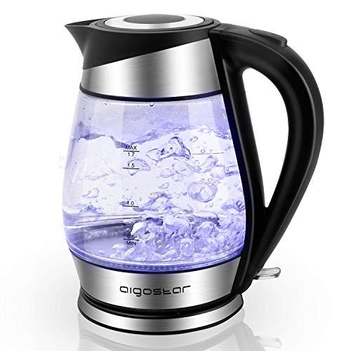 AIGOSTAR Britischer 3-poliger Stecker Glas Wasserkocher
