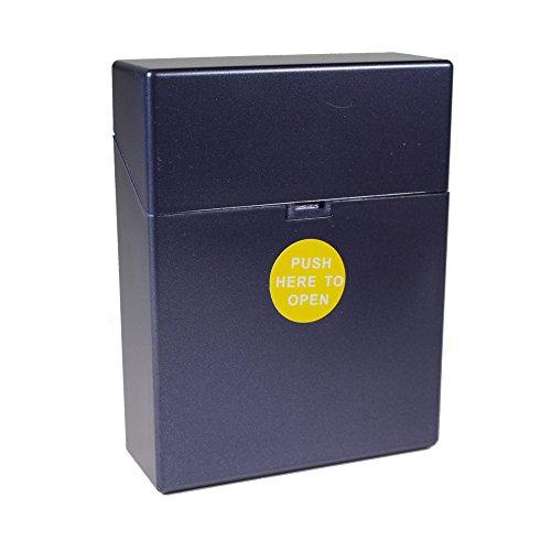 Zigarettenbox Kunststoff Zigarettenetui XL Big Box für 25 Zigaretten mit Push Open Funktion (Blau)