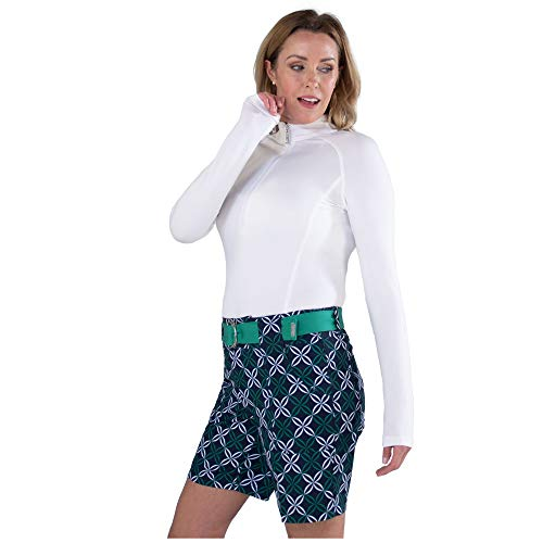 Jofit Apparel Women's Athletic Clothing Belted Golf Shorts for Golf & Tennis, Size 10, Appletini Diamond Print
