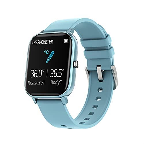 YQCH Monitor de actividad, podómetro, temperatura, reloj inteligente, versión mejorada, P8T, reloj inteligente, pulsera de ritmo cardíaco, pantalla táctil (color azul)