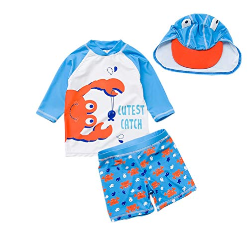Baby Toddler Boys Two Pieces Swimsuit Set Boys Crab Bathing Suit Rash Guards with Hat UPF 50+ FBA (Crab, 3-6 Months)
