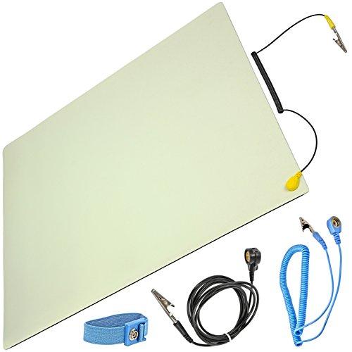 Minadax® ESD - Esterilla antiestática (50 x 60 cm, incluye manguito + extensión, profesional, antiestática, PVC, con cable de toma de tierra)