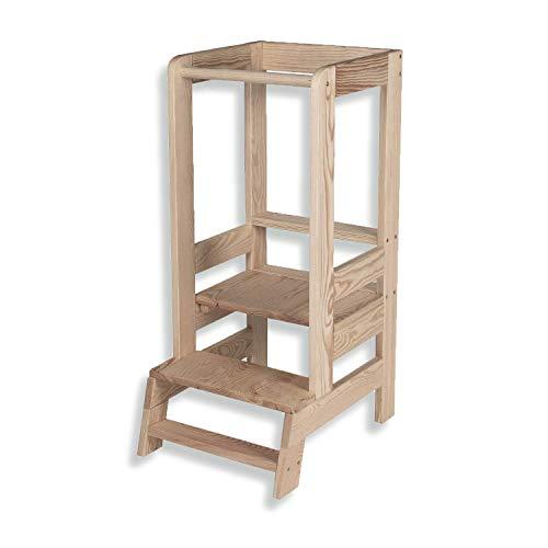Angelove Lernturm für Kinder Learning Tower Lernturm Kinder Helferturm Küchenhelfer Lernstuhl Montessori Kitchen Helper Stehhocker Natur Holz Transparent Made in EU
