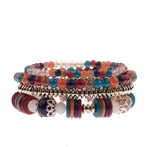SGRMYS Braccialetto Etnico Storm Bohemian di Colore Brillante con Perline di Riso per Amato Braccialetto da Donna Elasticizzato