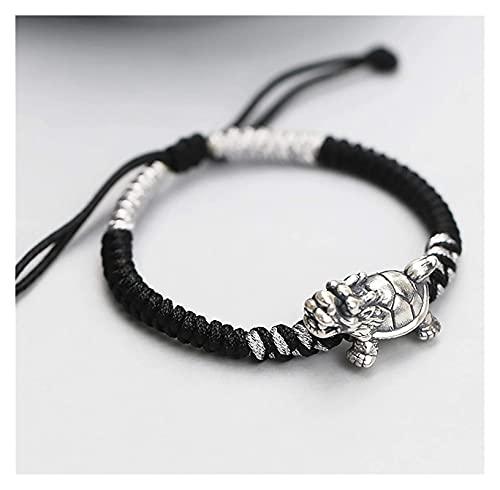 Feng shui riqueza pulsera dragón tortuga tibetan 999 plateado pulsera estilo chino antiguo estilo auspicioso afortunado encanto brazalete prosperidad por dinero buena suerte longevidad, negro rojo con