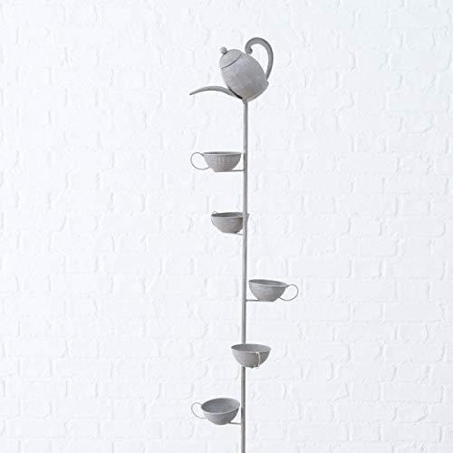 Objektkult Gartenstab Teekanne mit Tassen Grau aus Eisen Shabby mit Erdspieß, Maße (L x B x H): 132 x 15 x 15 cm. Schöner Pflanzenstecker als Gartendeko als Geschenk oder für Zuhause