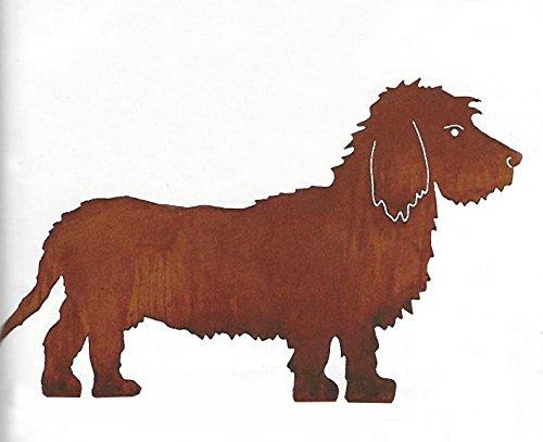 Hund Bastian Rauhaardackel 42x72cm Dackel Gartenstecker Edelrost Metall + Original Pflegeanleitung von Steinfigurenwelt