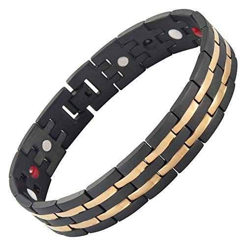 Premium 15mm Titanium Magnetic Bracelet for Men & Women with Free Link Removal Tool by Bislinks - Designed to Relive The Symptoms of Arthritis & Carpal Tunnel Joint Pain Relief Magnet Bracelets