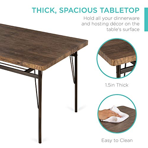 Best Choice Products 6-Piece 55in Wooden Modern Dining Set for Home, Kitchen, Dining Room w/Storage Racks, Rectangular Table, Bench, 4 Chairs, Steel Frame - Brown
