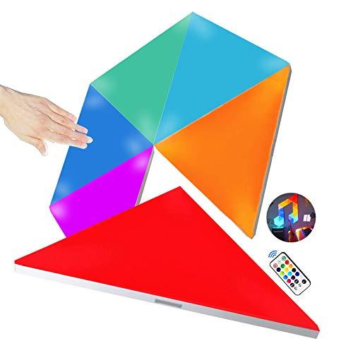 LED Triangolari da Muro con Telecomando, Pannelli LED Parete Gaming RGBW Controllo Touch Luce Notturna, Fai da te Geometria Splicing Lampada Triangolo per Stanza Gaming/Salotto/Festa, 6 Pacchi