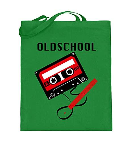 generisch Kassetten-Kult: Oldschool Tape - Jutebeutel (mit langen Henkeln) -38cm-42cm-Light Green