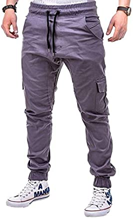 FRC0LT Fashion Men's Sports Pure Color Casual Loose Sweatpants Drawstring Cargo Pant