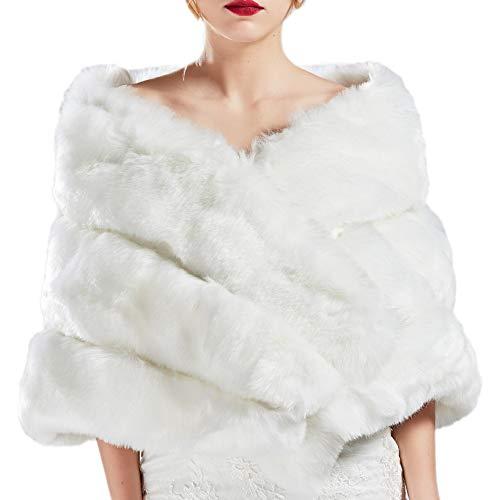 Coucoland - Bufanda de pelo sintético para mujer, estola, boda, novia, bolero, hombro, cubierta para vestido de novia, suave, de piel sintética Blanco Talla única