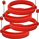 PROFESSIONAL Silicone Egg Ring- Pancake Breakfast Sandwiches - Benedict Eggs - Omelets and More Nonstick Mold Ring Round, Red (4-pack) and free e-book by ABAM