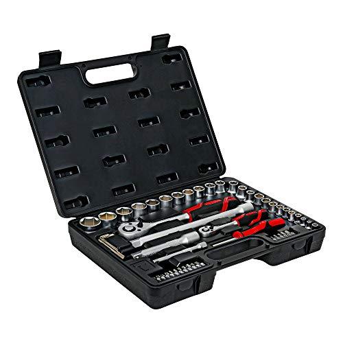 STIER Steckschlüsselsatz, 54 teilig, 1/4 Zoll und 1/2 Zoll, Schraubenschlüssel und Bits, Bitsatz, Ratschenschlüsselset, Steckschlüssel, Ratsche, Bit Set