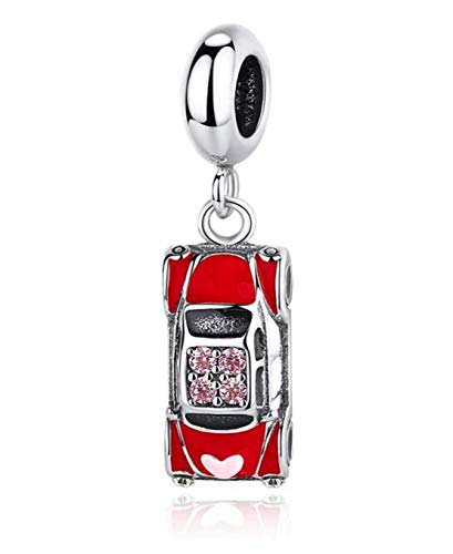 Classic Red Enamel Volkswagen Beetle Car 925 Sterling Silver Pendant Charm Bead For Pandora & Similar Charm Bracelets or Necklaces