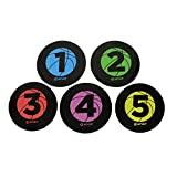 Get Out! Basketball Training Large 9in Disc Spot Markers 5-Pack – Round Flat Numbered Court Floor Poly Vinyl Spots