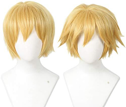 Linfairy Short Blonde Cosplay Wig Halloween Costume Cat Wig for Men