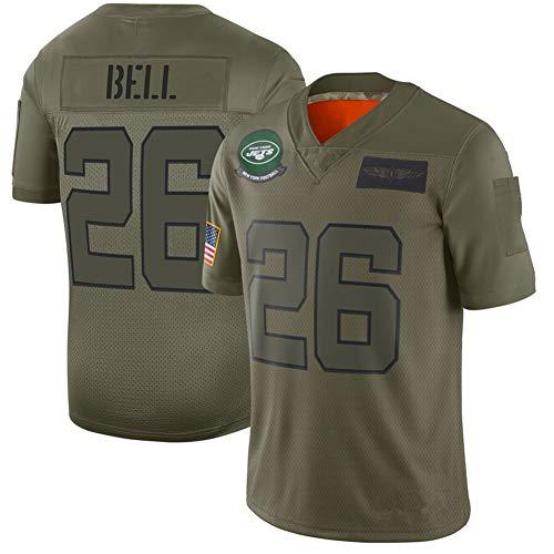 #26 American Football Trikot New York Jets Bell, Rugby Trikot Retro Trikot Sport kurzarm atmungsaktiv personalisiert gestickt Rugby Shirt XXXL Army Grün