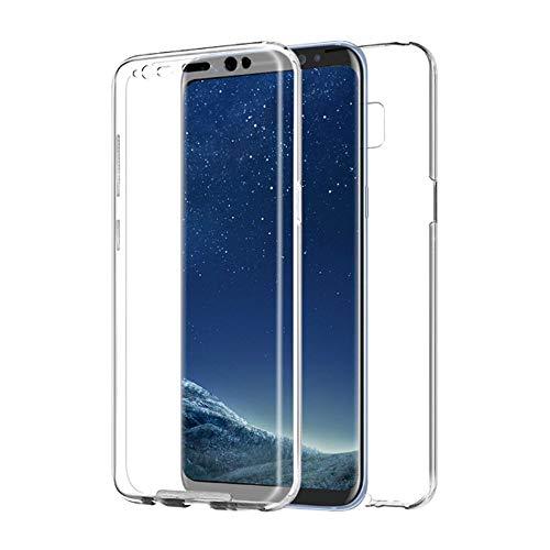 PLANETMOVIL [[ Compatible con Samsung Galaxy S8 + Plus ]] Funda de Cobertura Completa 360 DE Silicona Delantera + Trasera RIGIDA Doble 100% Transparente