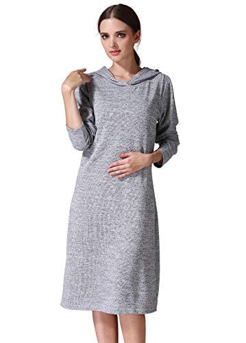 Liuyang Still Nachthemd Damen Emotion Moms Mutterschaftskleidung Schwangerschaftskleid Stillen Für Schwangere Frauen Kleidung Weicher Herbst-Silber_S.