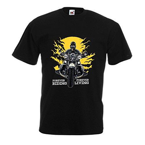 lepni.me Männer T-Shirt für Immer reiten, für Immer Leben - Motorradslogans, Motorrad-Zitate, Radfahrer-Geschenk-Ideen (Large Schwarz Mehrfarben)