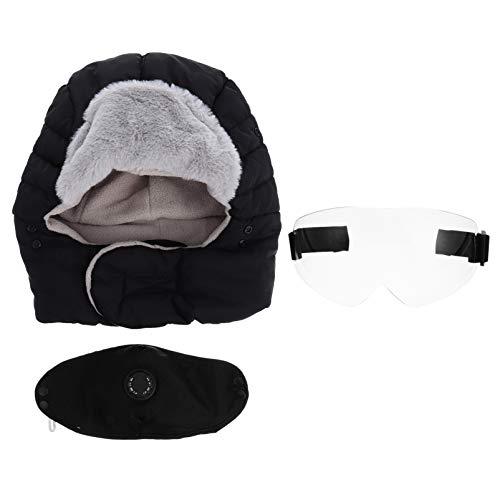 ABOOFAN chapéu de inverno quente balaclavas chapéu de esqui de inverno com abas de orelha, Googles boca cobertura, cachecol quente à prova de vento, chapéu Ushanka para mulheres, homens, acampamento, caminhada, preto, Preto, 36x32x3cm
