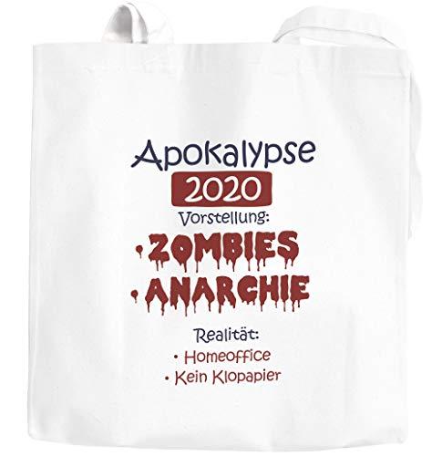 Moonworks® Jutebeutel Corona Apokalypse 2020 Satire Klopapier Home-Office statt Zombies Parodie weiß 2 lange Henkel