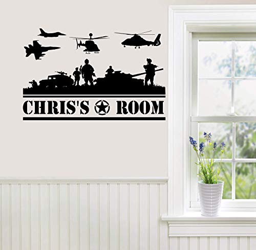 Personalized Custom Name Wall Decal Sticker Customized Sign Monogram Stencil Room Decor Boy Mural Art Gift Military Army Navy Marines Air Force Boy Room Helicopter Plane Tanks Solidiers Jet War