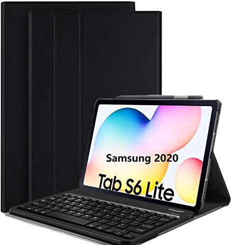 APISHUM Tastiera Custodia per Samsung Galaxy Tab S6 Lite 10.4 2020 Cover, Slim PU Case [QWERTY English] con Rimovibile Wireless Keyboard Tastiera per Samsung Tab S6 Lite SM-P610/ P615, Nero