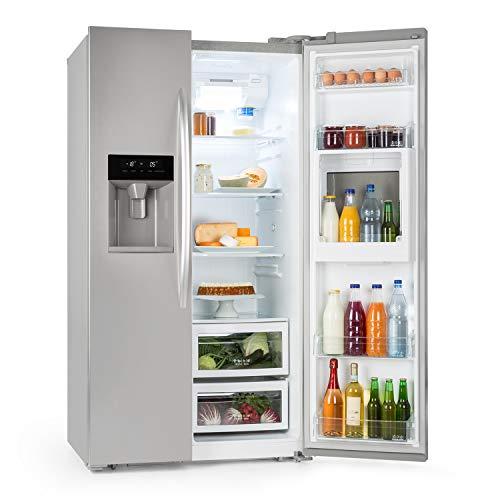 Klarstein Grand Host XXL - Side-by-Side Kühl-Gefrierkombination, Kühlschrank, stromsparende LEDs, 550 Liter Eis- und Wasserspender, 45 dB leise, Total NoFrost-Technik, silber