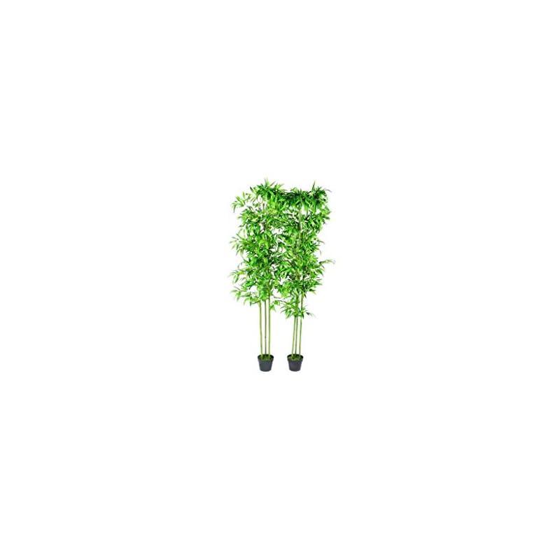 """silk flower arrangements vidaxl 2x bamboo plant artificial home decor 75"""" office corner silk tree pot"""