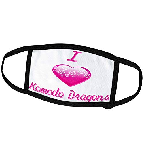 3dRose Blonde Designs Pretty Pink Flowery I Love Animals Heart - Pretty Pink Flowery I Love Komodo Dragons - Face Masks (fm_121634_2)