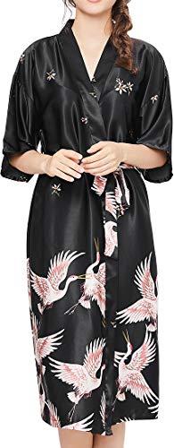 Chaos World Damen Morgenmantel V-Ausschnitt Kimono Seide Satin Lange Robe Bademantel mit Crane(Schwarz,Medium)