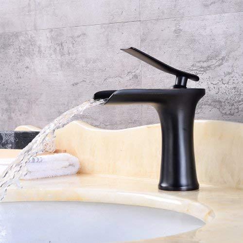Grifo de lavabo de cascada antiguo Todo bronce Continental Lavabo sobre encimera debajo del escenario Lavabo artístico de un solo orificio Grifo de agua caliente y frío Vintage (Tamaño: Corto)