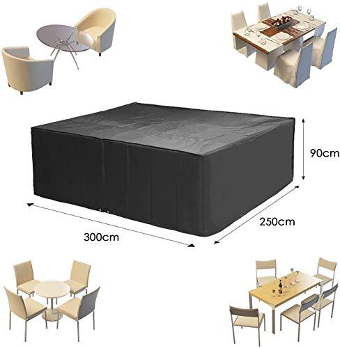 MVPower Abdeckung Schutzhülle Abdeckplane Abdeckhaube für Gartenmöbel und für rechteckige Sitzgarnituren, Gartentische und Möbelsets (300 * 250 * 90cm) - 5
