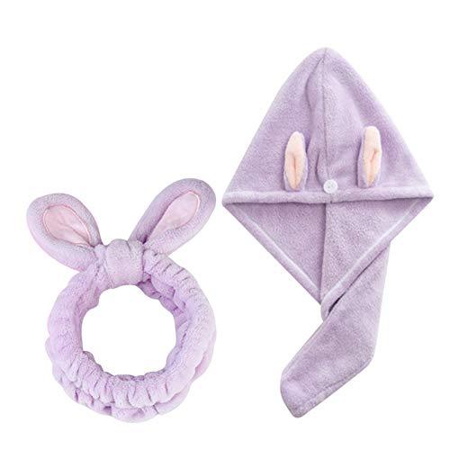 WFF Sombrero Toalla de Pelo Wrap Turban Headband Set, Sombrero de Pelo seco Microfibra súper Absorbente Toalla de Pelo seco rápido con botón, Tapa de baño Envuelto para Mujeres Punto Sombrero