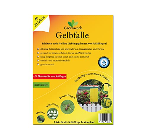 Greenwork® Gelbfalle - Gelbsticker - Gelbtafeln | 20 Stück je 20x15 cm | Mittel gegen Trauermücken, Fruchtfliegen, weiße Fliegen, Blattläuse, Minierfliegen | Fliegenfalle mit extra starker Leimkraft