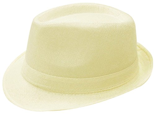 Simplicity Men / Women's Summer Gangster Solid Color Trilby Woven Fedora Hat