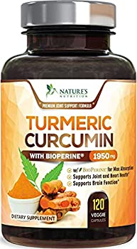 Turmeric Curcumin with BioPerine 95% Curcuminoids 1950mg with Black Pepper for Best Absorption Made in USA Natural Immune Support Turmeric Supplement by Natures Nutrition - 120 Capsules