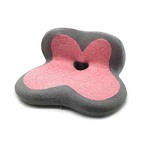 Flower Shape Memory Foam Coccyx Seat Cushion for Office Chair Car Seat Pain Relief (Color : Grey red, Specification : 48x40x22cm)