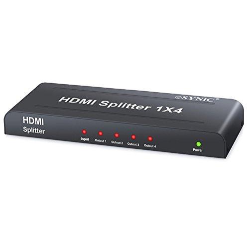 ESYNiC HDMI Splitter - 4 Via 1080P HD Hub Smart Splitter Box HDMI Splitter 1 Entrata 4 Uscita - 3D Amplificatore Switcher Attivo per HDTV PC Proiettore SKY Box PS3 PS4 STB