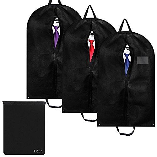 Lictin 3 Set Kleidersack mit Schuhbeutel Kleiderhülle/Anzugsack / Anzughülle/Kleiderschutzhülle mit Tragegriffen aus atmungsaktivem Material, Schutz für Anzüge und Kleider (100 * 60 cm)