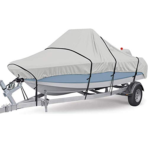 Hombosi Boat Cover, Heavy Duty 600D Waterproof Runabout Boat Cover, Tri-Hull,Fits V-Hull,Trailerable Speedboat Fishing Ski Boat Cover Outdoor Protection,21/24FT(732 * 300CM)