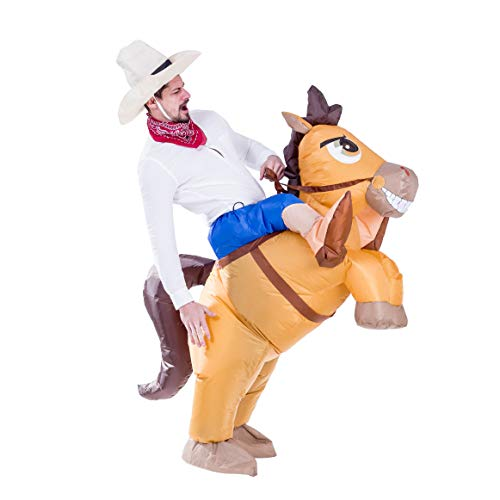 Spooktacular Creations Vaquero Inflable Montar un Golpe Arriba del Traje Halloween Caballo Aire - tamaño Adulto