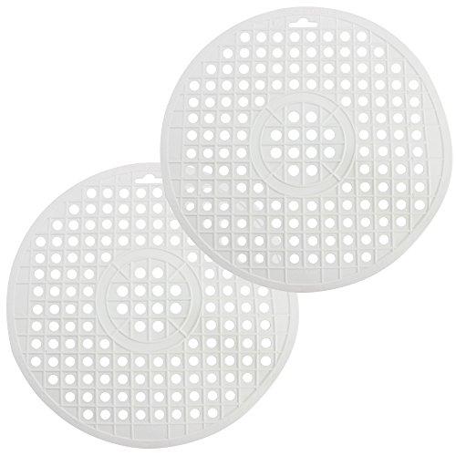COM-FOUR® 2x Tapis d'évier - Tapis d'évier rond - Le tapis d'évier protège la surface de l'évier et la vaisselle (2 pièces - blanc)